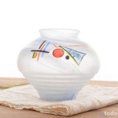 Vintage: JARRÓN DECORATIVO DE CRISTAL PINTADO DE HERNER GLASS. Lote 283103633