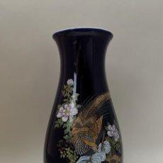 Vintage: JARRÓN JAPONÉS AZUL FAISANES FLORES. Lote 289599008