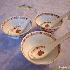 Vintage: LOTE DE 3 BOLES Y CUCHARAS DE PORCELANA MADE IN TAIWAN.. Lote 289749853