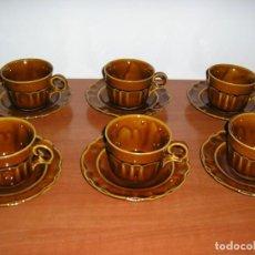 Vintage: JUEGO DE TAZAS DE MERIENDA-PORCELANA. Lote 290745603