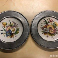Vintage: 2 PLATOS BASSANO PINTADOS A MANO. Lote 294042558