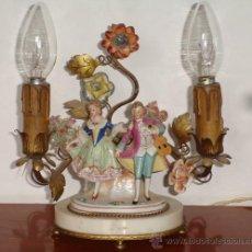 Vintage: FABULOSA Y ANTIGUA LAMPARA DE PORCELANA, MARMOL Y METAL, FUNCIONA.. Lote 26481192