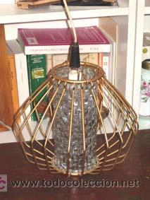 Vintage: Lámpara de techo forja dorada años 50 vintage - Foto 2 - 13697943