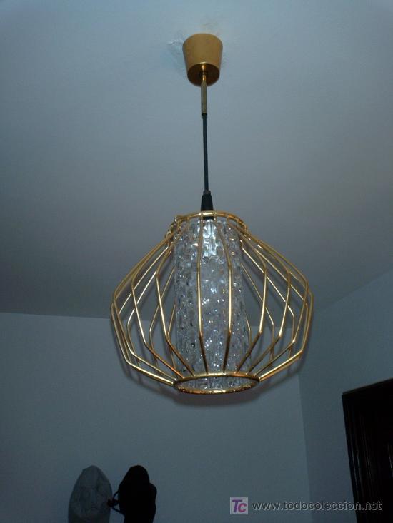 Vintage: Lámpara de techo forja dorada años 50 vintage - Foto 3 - 13697943