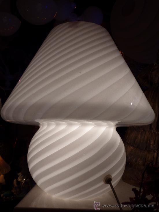 lampara sobremesa vidrio irisado murano blanca - Comprar Lámparas ...