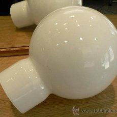 Vintage: TULIPA DE CRISTAL BLANCA GLOBO O BOMBO DE APLIQUE O LAMPARA . Lote 27490135