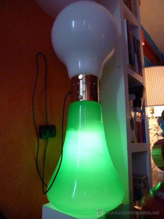 Vintage: LAMPARA DE SUELO CRISTAL DE MURANO VERDE Y BLANCO - Foto 2 - 27664468