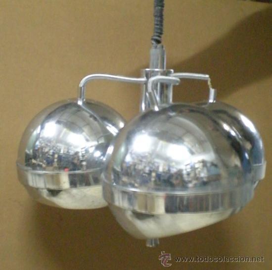 LAMPARA GLOBOS ACERO AÑOS 70 (Vintage - Lámparas, Apliques, Candelabros y Faroles)