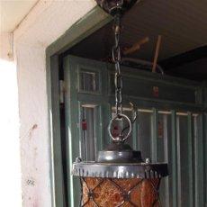 Vintage: FAROL DE HIERRO Y CRISTAL MARRON. Lote 28999138