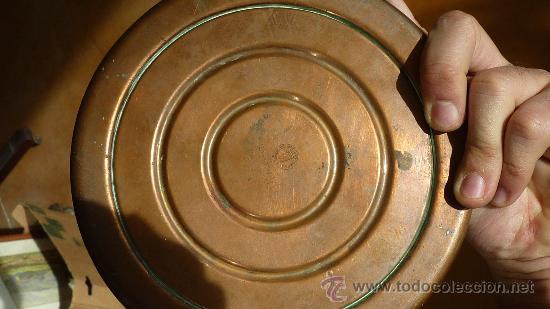 Vintage: Antigua palmatoria de años 50s en cobre. Deposito en base. marca Stephanie gesgech. - Foto 6 - 29699708