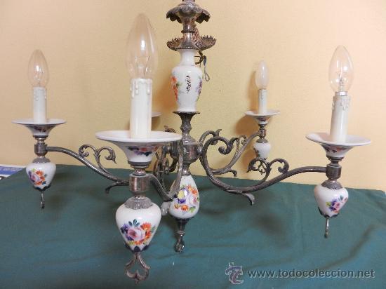 Vintage: LAMPARA DE TECHO CON 5 BRAZOS EN CERAMICA PINTADA Y BRONCE - Foto 6 - 30484249