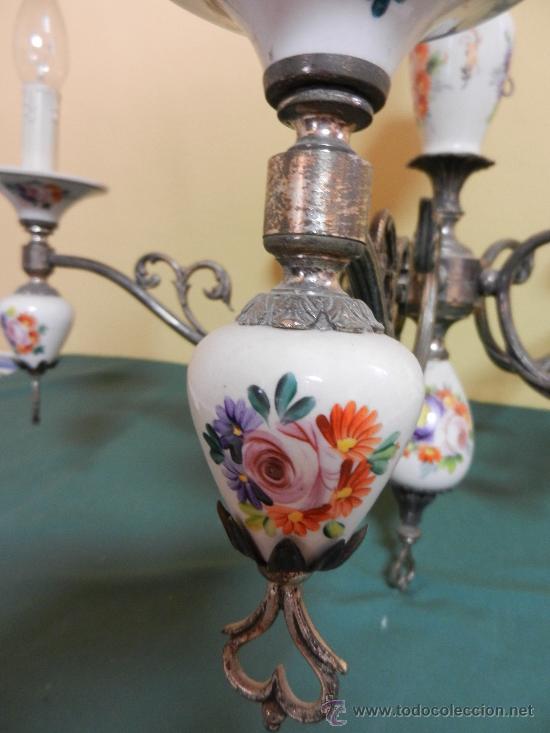 Vintage: LAMPARA DE TECHO CON 5 BRAZOS EN CERAMICA PINTADA Y BRONCE - Foto 3 - 30484249