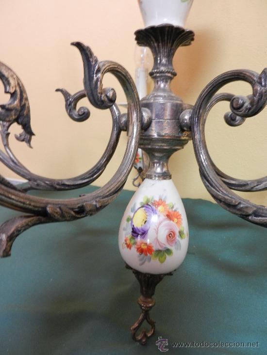Vintage: LAMPARA DE TECHO CON 5 BRAZOS EN CERAMICA PINTADA Y BRONCE - Foto 4 - 30484249