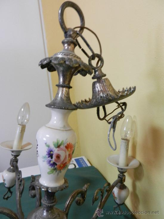 Vintage: LAMPARA DE TECHO CON 5 BRAZOS EN CERAMICA PINTADA Y BRONCE - Foto 5 - 30484249