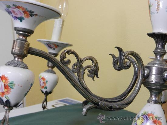Vintage: LAMPARA DE TECHO CON 5 BRAZOS EN CERAMICA PINTADA Y BRONCE - Foto 2 - 30484249
