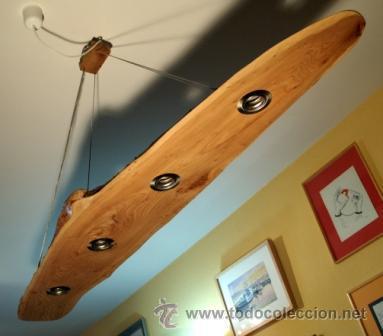 L mpara de techo en madera de olmo comprar l mparas vintage apliques candelabros y faroles - Apliques para techo ...