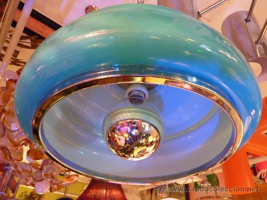 Vintage: LAMPARA TECHO OPALINA AZUL TURQUESA AÑOS 60-70 - Foto 2 - 31597070