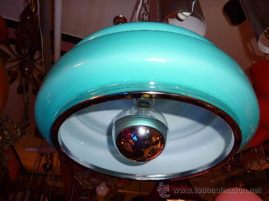 Vintage: LAMPARA TECHO OPALINA AZUL TURQUESA AÑOS 60-70 - Foto 4 - 31597070