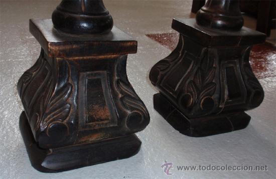 Vintage: Hachero, candelabro o velero tallado en madera. Medida 74 cm altura. 2 unidades. - Foto 2 - 160273305