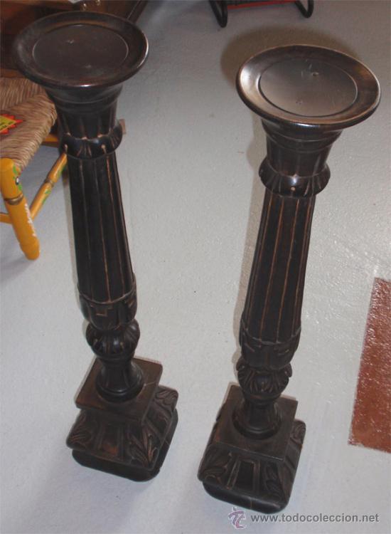 Vintage: Hachero, candelabro o velero tallado en madera. Medida 74 cm altura. 2 unidades. - Foto 3 - 160273305