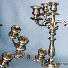 Vintage: PAREJA DE CANDELABROS METAL PLATEADO DE 1 Y DE 4 VELAS. DESMONTABLE CON 10 CAZUELAS.. Lote 32046439