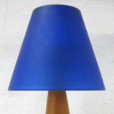 Vintage - candelabro farol diseño - acero madera y tulipa cristal cobalto - 33632120
