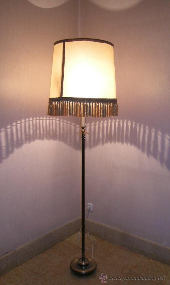 L mpara de pie de bronce pantalla pergamino comprar l mparas vintage apliques candelabros y - Lampara de pie vintage ...