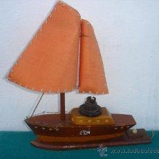 Vintage: LAMPARA DE MADERA EN FORMA DE BARCO. Lote 34448621
