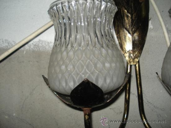 Vintage: bonito aplique con dos tulipas cristal metalico con estilo hojas tipo sol - Foto 3 - 34560017