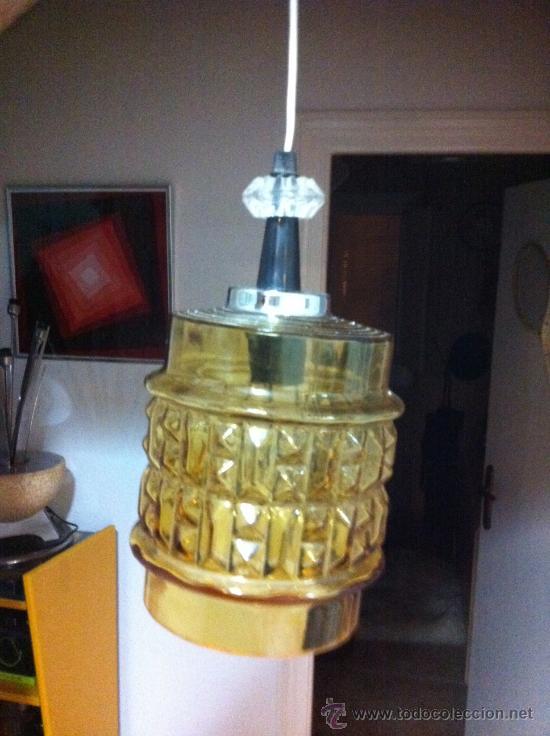 lampara de techo en cristal color ambar tallado retro vintage aos