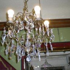 Vintage: LAMPARA BRONCE Y CRISTAL ASFOUR. Lote 35462487