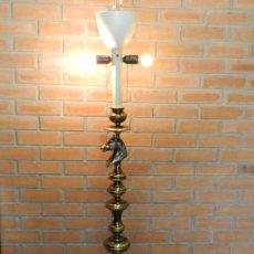 Vintage: LAMPARA DE PIE EN BRONCE CON BUSTO DE CABALLO / EQUINO, TRES LUCES. Lote 35721832
