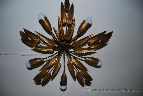 Lámpara 5 de de hojas pt Vendido en techo metal dorado 3l1JcKuTF
