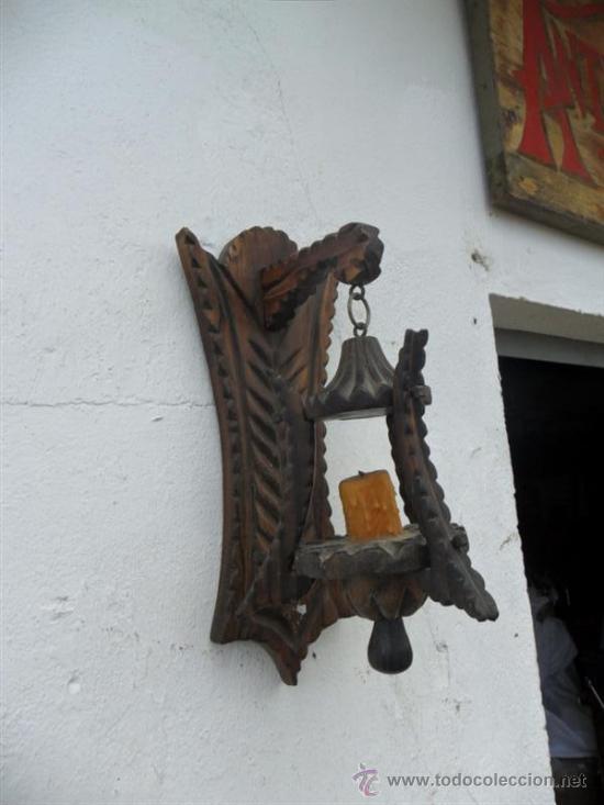 Aplique de pared madera rustico comprar l mparas vintage apliques candelabros y faroles en - Aplique pared rustico ...