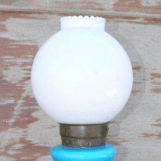 Vintage: LAMPARA ANTIGUA VINTAGE OPALINA AZUL MARMOL BRONCE ROSAS ORO AÑOS 40 TULIPA BLANCA RETRO FIRMADA. Lote 37965435