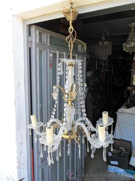 LAMPARA DE CRISTAL Y BRONCE (Vintage - Lámparas, Apliques, Candelabros y Faroles)