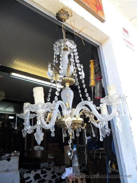 Vintage: lampara de cristal y bronce - Foto 4 - 38360785