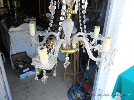 Vintage: lampara de cristal y bronce - Foto 6 - 38360785