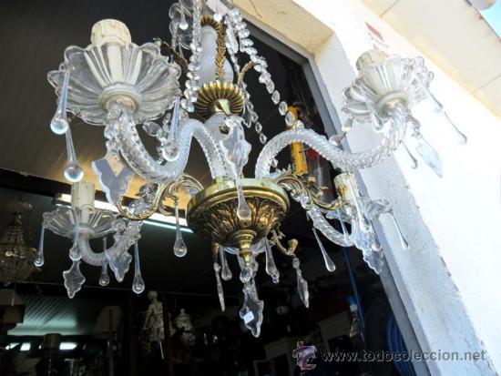 Vintage: lampara de cristal y bronce - Foto 7 - 38360785