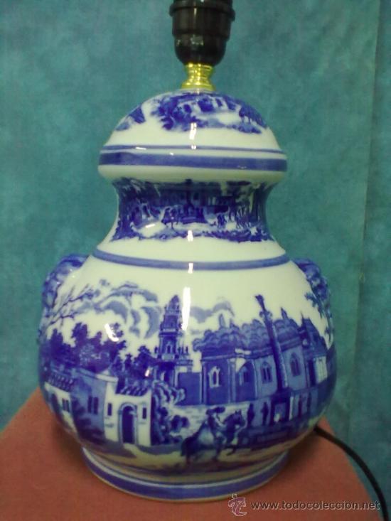 LAMPARA PORCELANA SOBREMESA AZULES SELLO N (Vintage - Lámparas, Apliques, Candelabros y Faroles)