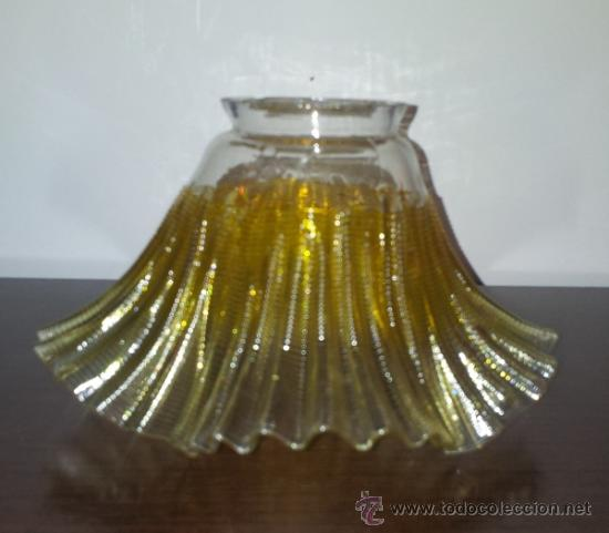 Vintage: ANTIGUO CONJUNTO DE LAMPARA DE TRES TULIPAS PRECIOSO CRISTAL CON TONOS AMBAR AÑOS 70 VINTAGE - Foto 2 - 38532211