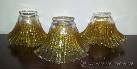 ANTIGUO CONJUNTO DE LAMPARA DE TRES TULIPAS PRECIOSO CRISTAL CON TONOS AMBAR AÑOS 70 VINTAGE (Vintage - Lámparas, Apliques, Candelabros y Faroles)