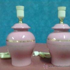 Vintage: PAREJA LAMPARAS MESITA MESILLA DE NOCHE PORCELANA ROSA ORO. Lote 38961154