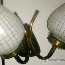 Vintage: PRECIOSO APLIQUE DE 2 BRAZOS DE COBRE, CON DOS TULIPAS. Lote 38963799