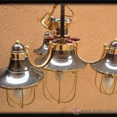 Vintage: LAMPARA DE TECHO ESTILO BARCO , BRONCE MADERA Y CRISTAL MATE. Lote 39217688