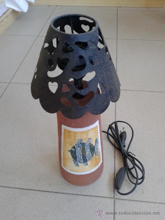 LAMPARA CERAMICA - TULIPA EN HIERRO - (Vintage - Lámparas, Apliques, Candelabros y Faroles)