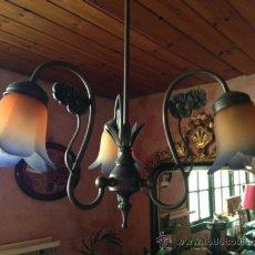Vintage: LAMPARA BRONCE Y TULIPA CRISTAL COLOR. Lote 39265779