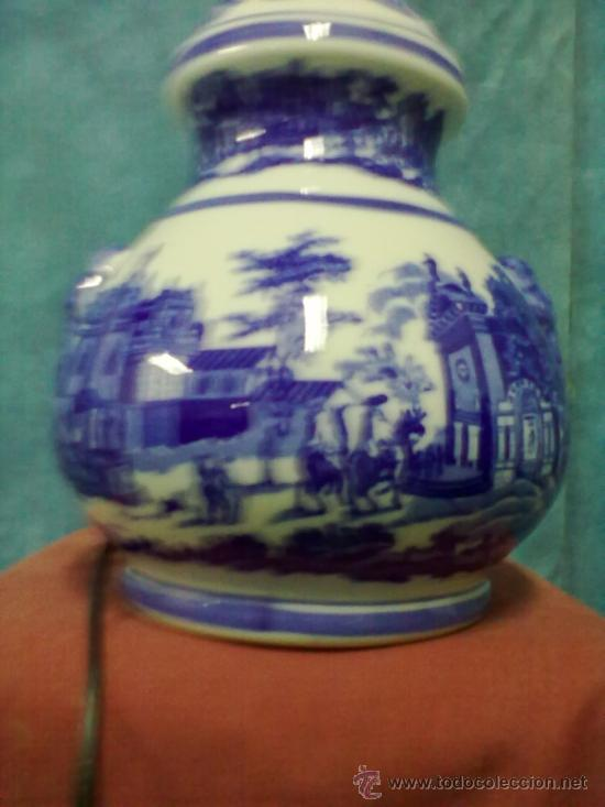 Vintage: LAMPARA PORCELANA SOBREMESA AZULES SELLO N - Foto 2 - 39622621
