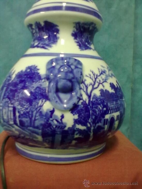 Vintage: LAMPARA PORCELANA SOBREMESA AZULES SELLO N - Foto 3 - 39622621