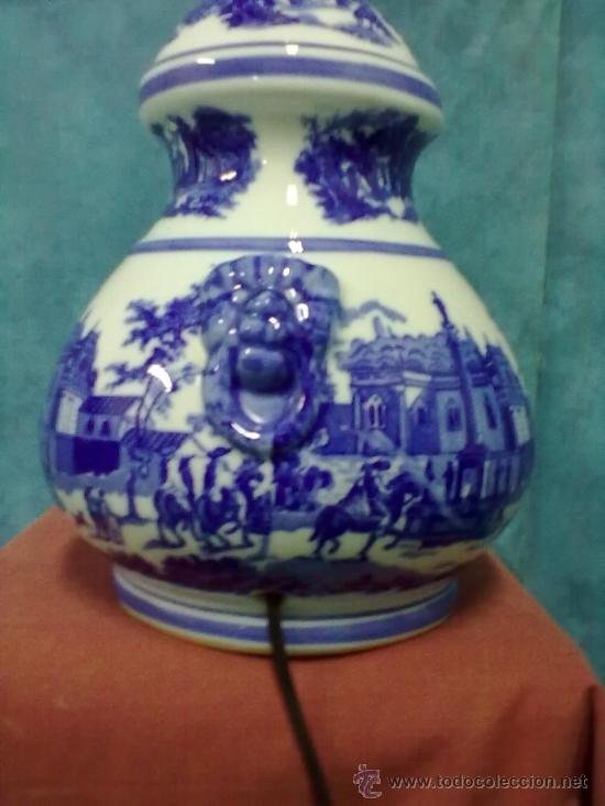 Vintage: LAMPARA PORCELANA SOBREMESA AZULES SELLO N - Foto 4 - 39622621